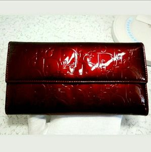 Auth Christian Dior patent leather long wallet